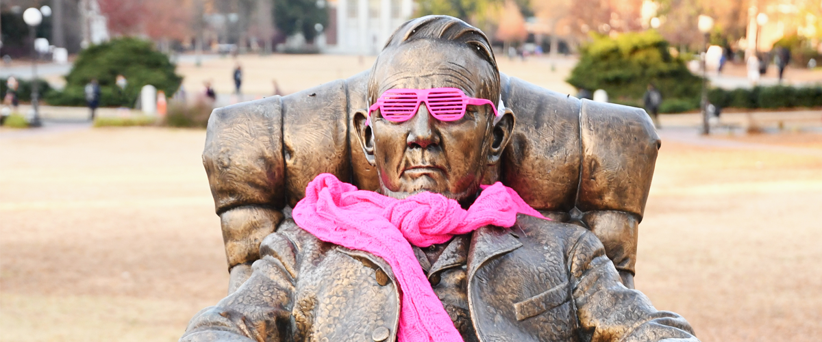 Washington Duke Statue with Sunglasses