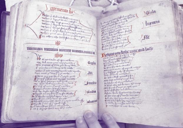 manuscript purple