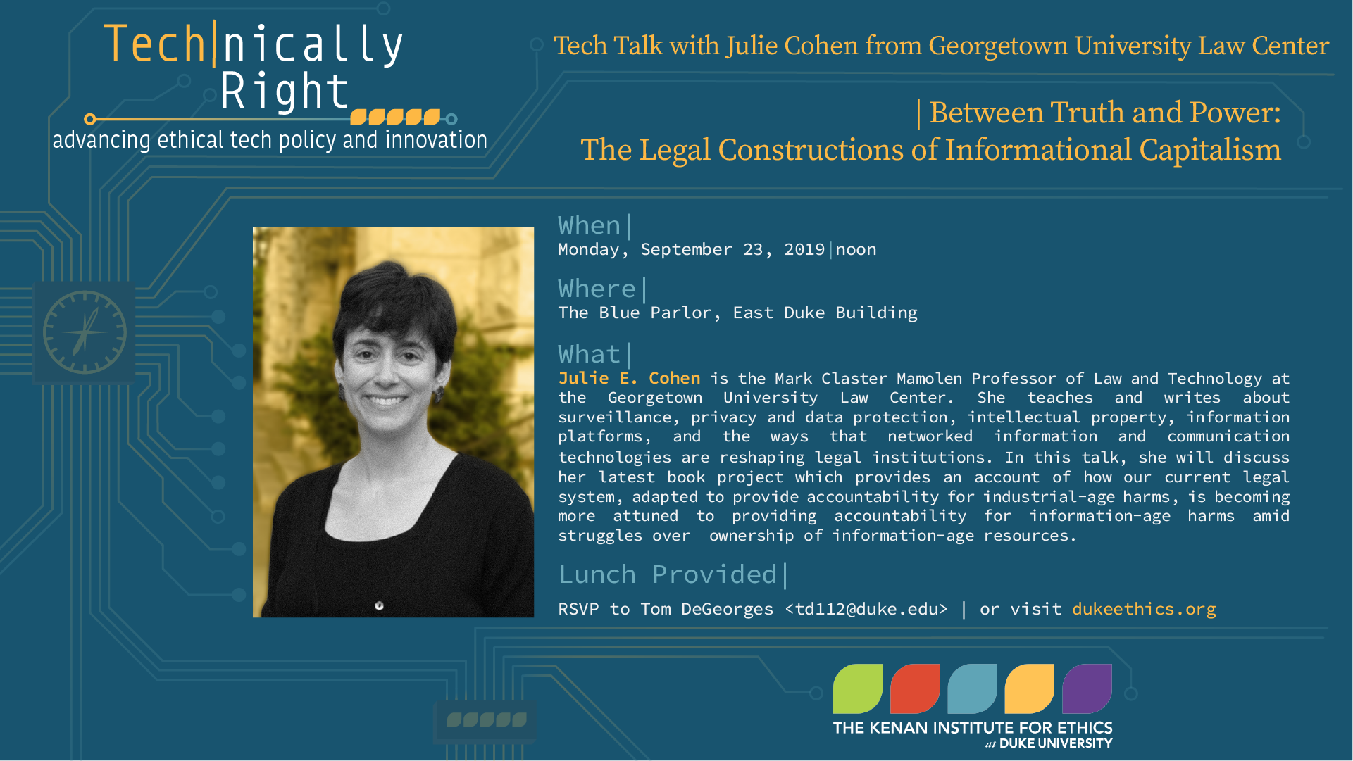 Tech Talk: between truth and power: the legal constructions of informational capitalism with Julie Cohen from Georgetown University Law Center