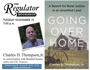 "Poster for Book release of ""Going Over Home"" at Regulator Bookshop"