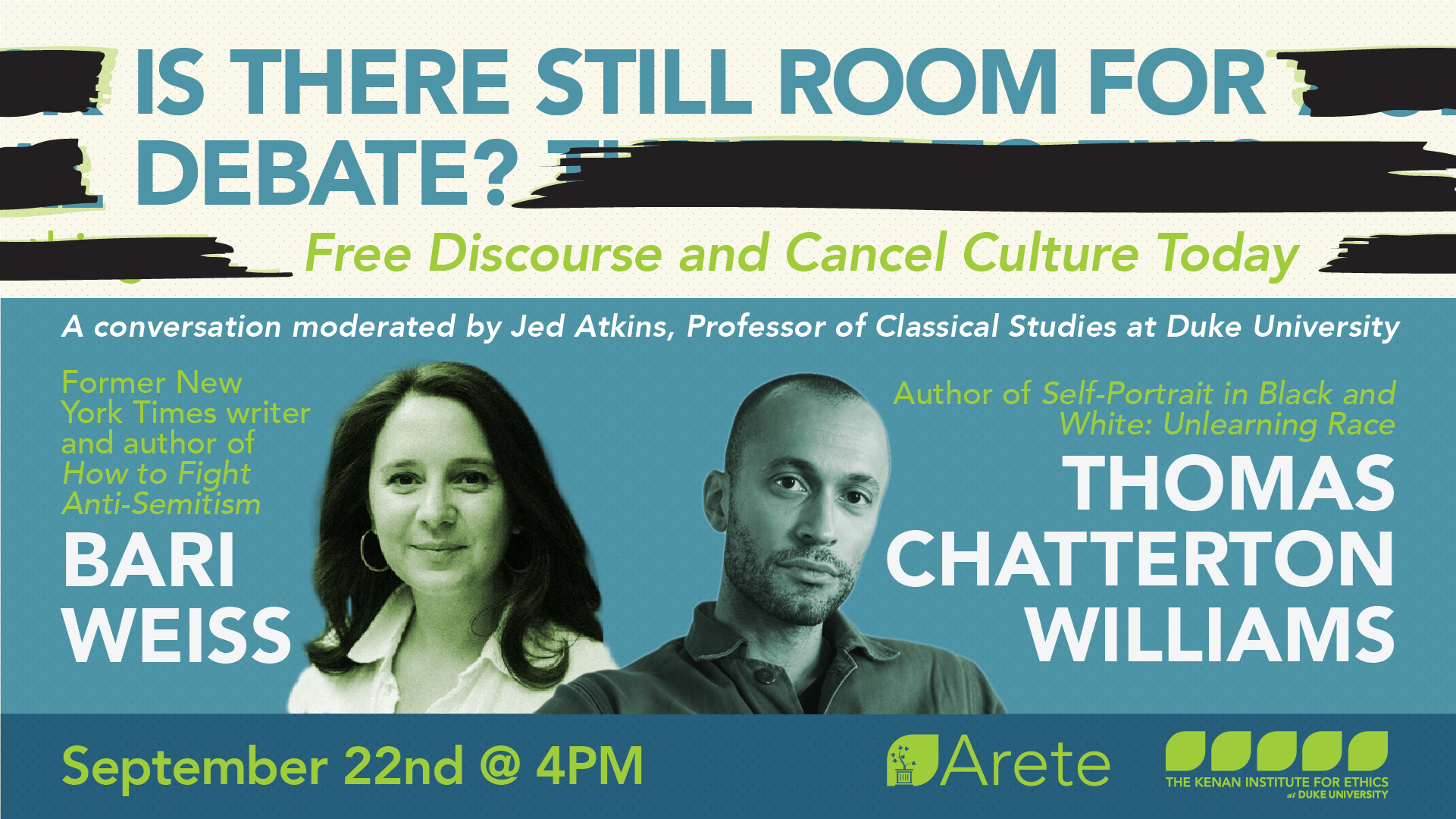 "Promotional flyer for Arete event ""Is There Still Room For Debate?"""