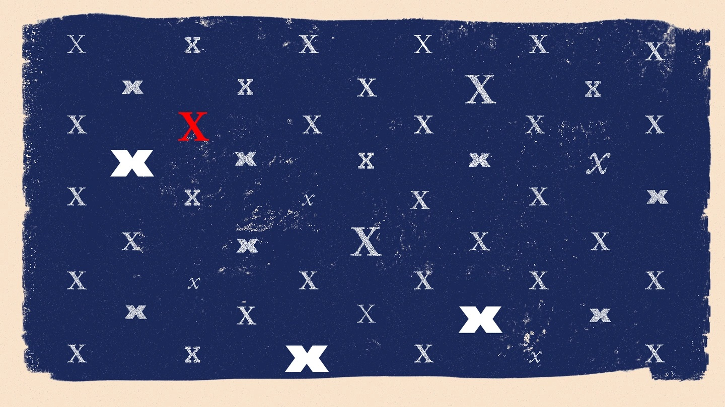 Decorative image with many white X's and one red X on a blue background