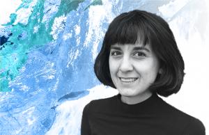 Headshot of Alyssa Battistoni against white, blue, and green background