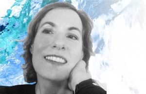 Headshot of Joyce Chaplin against blue, green, and white background