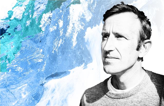Headshot of Robert Macfarlane against blue, green, and white background
