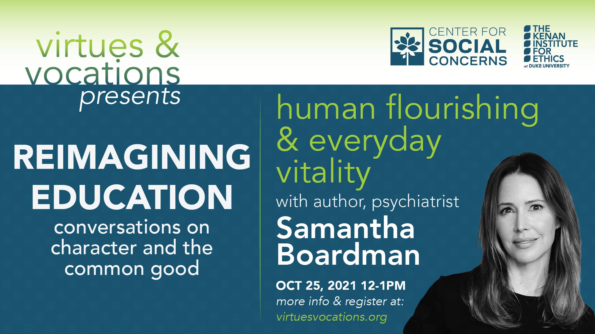 Virtues & Vocations presents Samantha Boardman